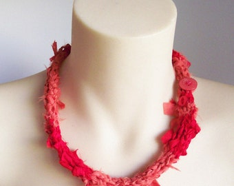 kimono silk necklace knit coral red textile jewellery with buttons