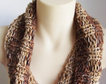 Hand knitted Wool Cowl - Brown tan neck warmer