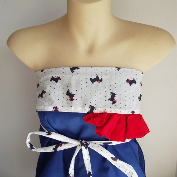 Wrap Top. Apron Top. Origami Wrap Top with Frill. Scotty Dog