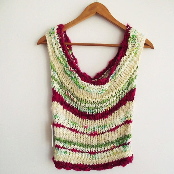 Knitted top. knitted vest. hand knit. designer knit tank - lime fuschia cream - OOAK