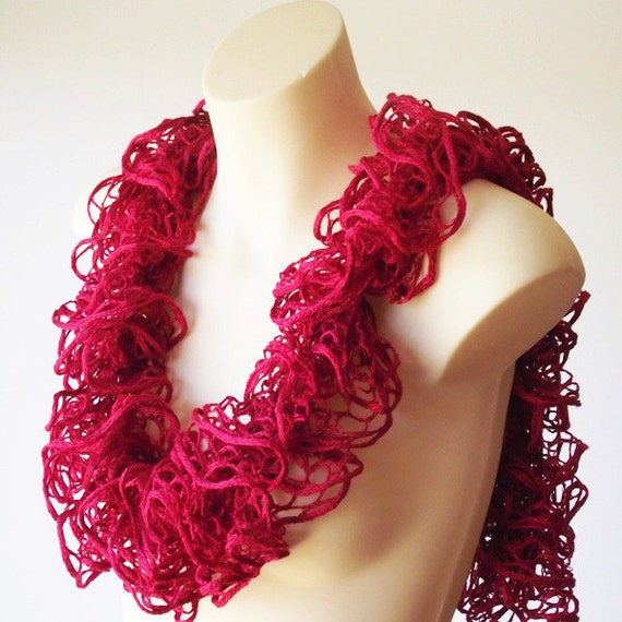 Hand knit lace frilled ruffle scarf - crimson red