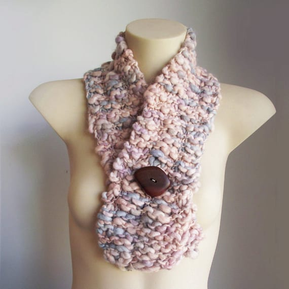 Wool knit scarf with button - creamy, neutral, champagne tones