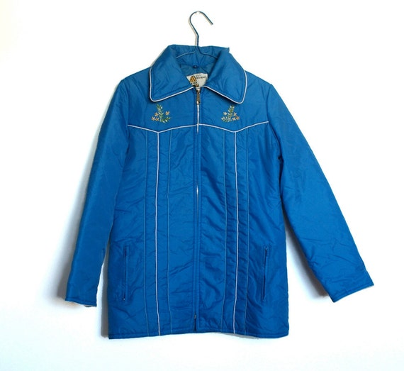 Vintage Women's Blue Winter Coat / Jacket (M)