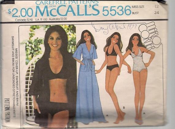 Vintage Mccalls 5536 Marlo Thomas Swimsuit Cover Up Bikini