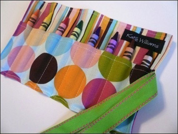 Mini Me Pretty Pretty Polka Dot Crayon Roll Organizer-8 Crayola Crayons Included-Great Gift or Party Favor