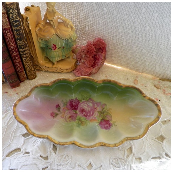 Vintage Pink Rose Soap Relish Dish