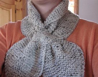 scarf - chunky cowl scarf - women cowl - grey fox - hand knit by windowsill