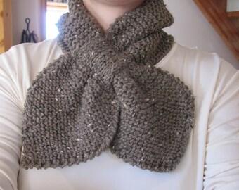 Knit Bow Tie Retro Style Handmade Ladies Chocolate Sprinkle Scarves