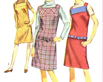Vintage 1966 Misses' One-Piece Jumper Size 10 Simplicity 6694 UNCUT Sewing Pattern 1960s 60s