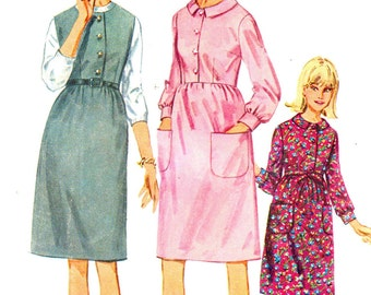 Vintage 1966 Juniors and Misses One-Piece Dress or Jumper Size 12 Simplicity 6574 UNCUT Sewing Pattern