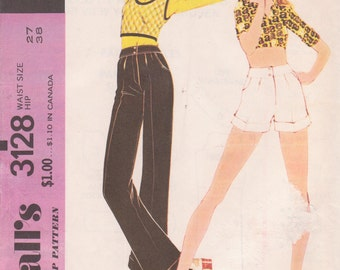 Vintage 1972 Misses Proportioned Pants or Shorts Size 27 McCalls 3128 UNCUT Sewing Pattern 70s 1970s