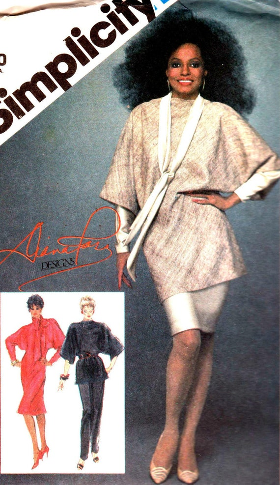 Vintage 1983 Misses Pull-On Pants, Pullover Bias Dress, Bias Tunic in Two Lengths and Scarf Size 14 Simplicity 6325 UNCUT Sewing Pattern