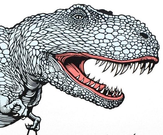 T-Rex with a handbag linocut