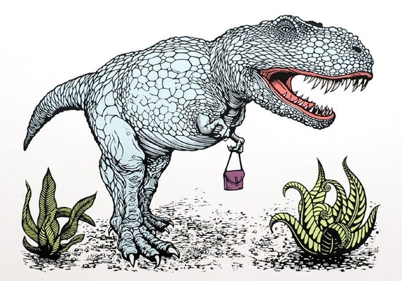 Dinosaur print - T-Rex with a handbag linocut
