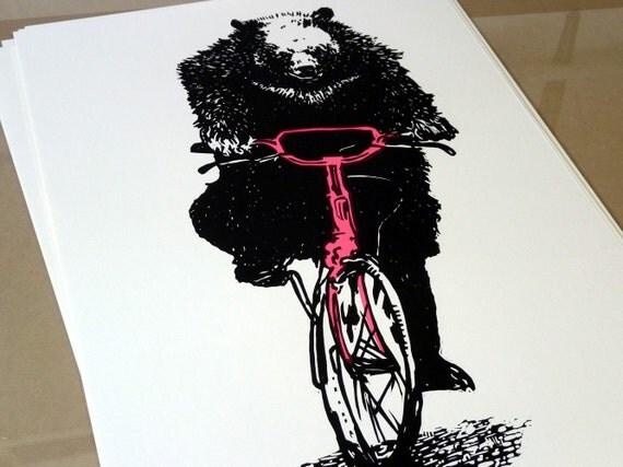 Bear on a Bike linocut print - dayglo pink Artist Proof