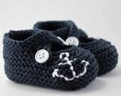 Ahoy Navy Anchor Baby Booties