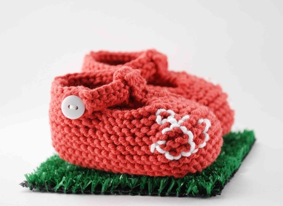 Nautical Red T Strap Baby Bootie
