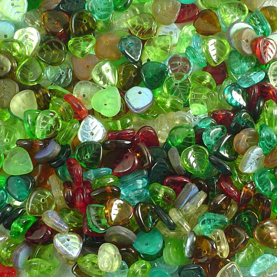 Czech Pressed Glass 9mm Heart Shaped Leaf Beads Assorted Colors 80 Count