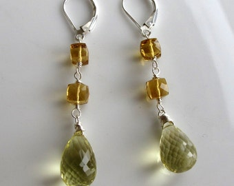 Sunkiss - Whiskey and Lemon Quartz  Long and Lean Sterling Silver Earrings