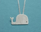 Cute Sterling Silver Whale Pendant with Chain by Squirrelbunny
