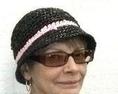 Black Rain Hat Plarn Crochet Cloche Hat