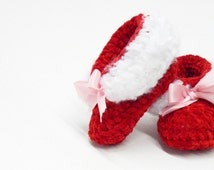 Red Winter Booties, Size 3 to 6 Months, Crochet Booties