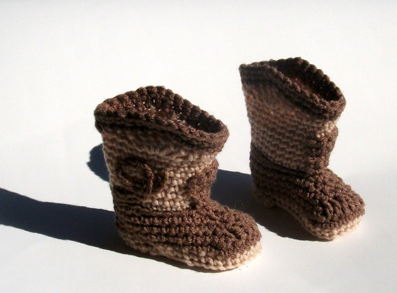 Crochet Cowboy Boots Beige and Camel Brown