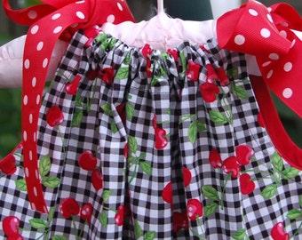 Black/white/red cherry print gingham pillowcase dress