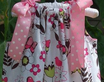 Pink and Brown Butterfly Garden Pillowcase Dress