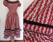 Vintage 50s kitsch Flamenco Dancer Print dress
