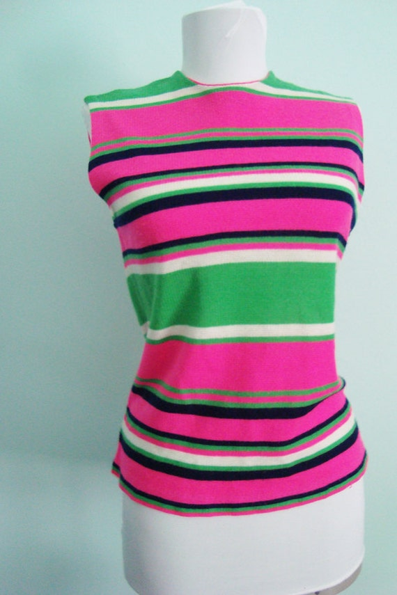 Vintage 60s Hot Pink Lime Summer Sleeveless top