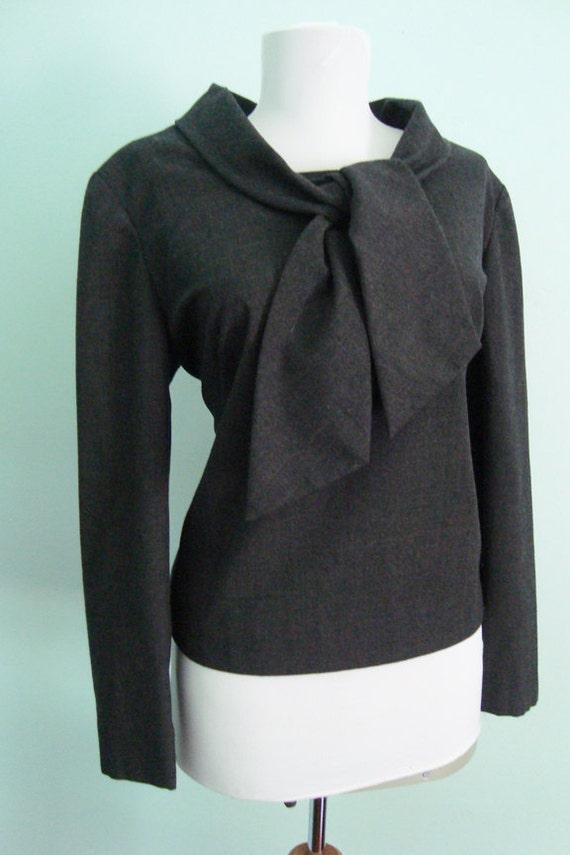 Classic 60s boat neck tie blouse