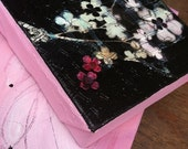Original painting, Lucky Numbers, acrylic, mixed media, pink and black,floral, cherry blossoms, jamie rowe-rischitelli