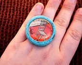 Dramatic Vintage Chair Ring - Teal\/Aqua, Brown and Red