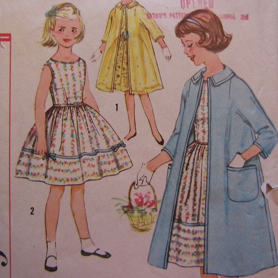 1950s Girls Dress with Full Skirt and Coat Pattern, Simplicity 2942, Size 7