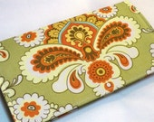French Wallpaper in Green  Handmade checkbook cover /wallet