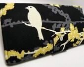Handmade Long Wallet  BiFold Clutch - Vegan Wallet - Sparrows in Cavern