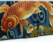 Imperial Koi Tranquil Golden Pond - Handmade Long Wallet BiFold Clutch