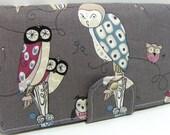 Owl Handmade Long Wallet  BiFold Clutch - Vegan Wallet - Spotted Owl Fabric in Smoke