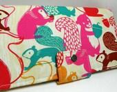 Handmade Long Wallet  BiFold Clutch - vegan wallet- Woodland Nutty Squirrels