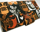 Handmade vegan Long Wallet  BiFold Clutch -Woodland OWLS