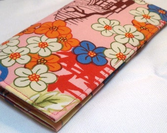 Koto in pink by Alexander Henry checkbook cover/ wallet coupon holder