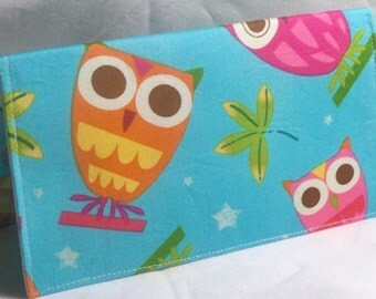 Robert Kaufman's On a Whim owl in aqua fabric checkbook cover - wallet - coupon holder
