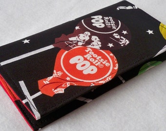 Tootsie Roll Pop Candy  Handmade checkbook cover - wallet - coupon holder
