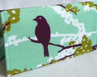 Sparrows in Plum Mint Handmade Vegan checkbook cover / wallet  Aviary 2