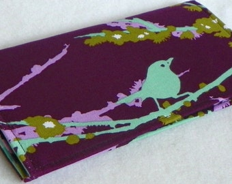 Sparrows in Lilac Handmade Vegan checkbook cover / wallet  Aviary 2