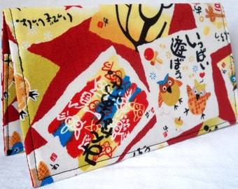 Takumi - Owls at Play Handmade checkbook / wallet