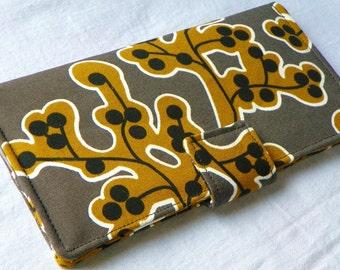 Last one - SALE Handmade Long Wallet  BiFold Clutch- Vegan Wallet - Patricia  Ikea or half size unisex wallet