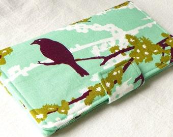 Handmade vegan Long Wallet  BiFold Clutch -Sparrows in Plum Mint or half size unisex wallet