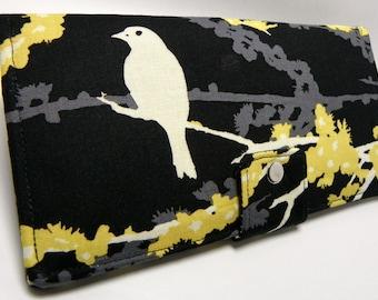 Handmade Long Wallet  BiFold Clutch - Vegan Wallet - Sparrows in Cavern or half size unisex wallet